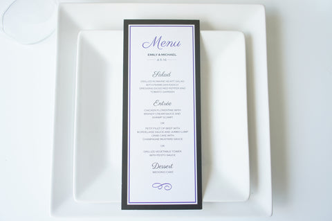 Purple and Black Wedding Menu Cards - DEPOSIT