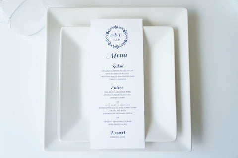 Navy Wreath Wedding Menu Cards - DEPOSIT