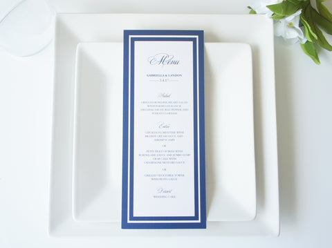 Navy Elegant Wedding Menu Cards - DEPOSIT