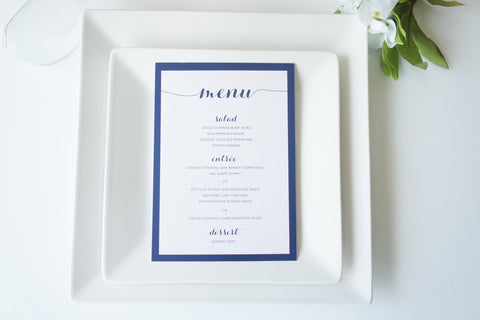 Navy Script Wedding Menu Cards - DEPOSIT