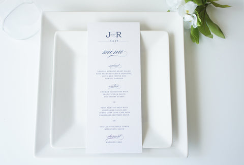 Navy Wedding Menu Cards - DEPOSIT