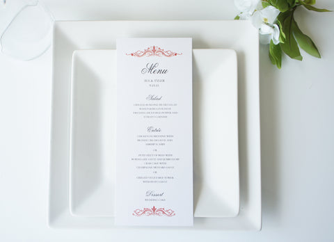 Red Elegant Wedding Menu Cards - DEPOSIT