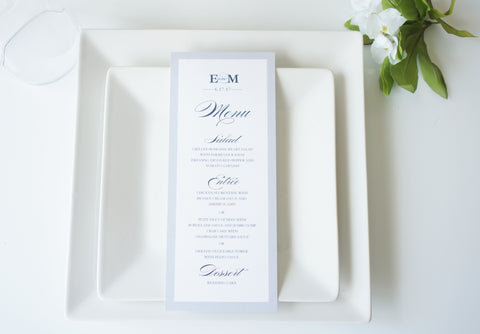 Navy and Gray Wedding Menu Cards - DEPOSIT