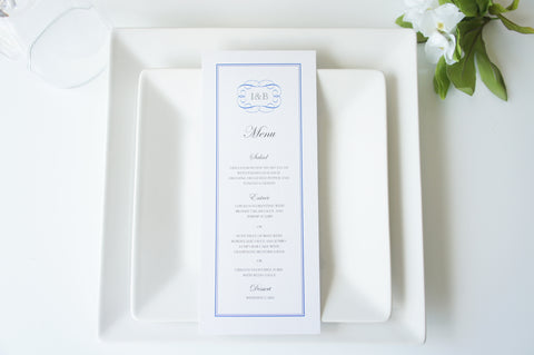 Royal Blue Monogram Wedding Menu Cards - DEPOSIT
