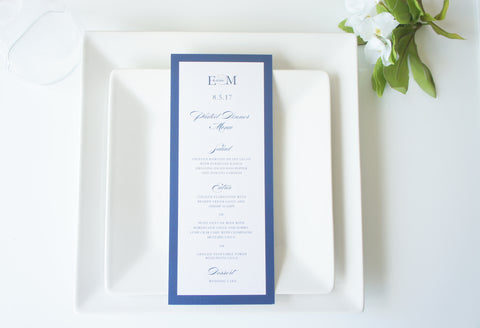 Navy Border Wedding Menu Cards - DEPOSIT