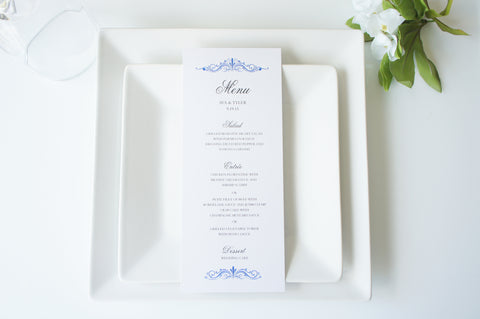 Royal Blue Wedding Menu - DEPOSIT
