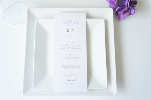 Purple Calligraphy Wedding Menu Cards - DEPOSIT