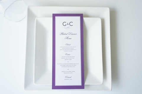 Purple Wedding Menu Card - DEPOSIT