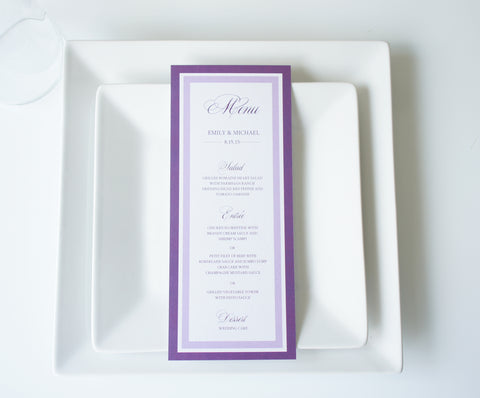 Plum Wedding Menu Cards - DEPOSIT