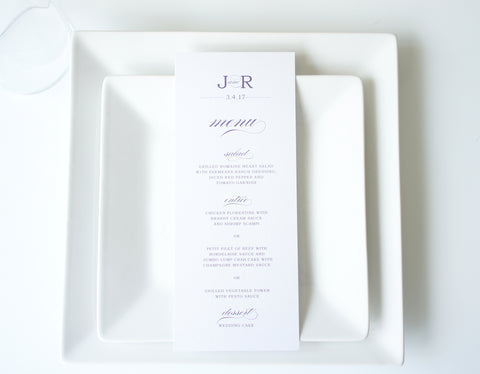 Purple Wedding Menu Cards - DEPOSIT