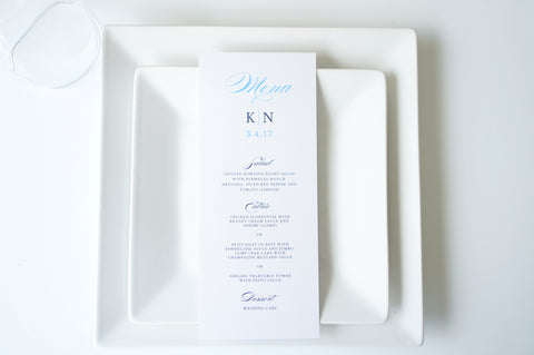 Blue Calligraphy Wedding Menu Cards - DEPOSIT