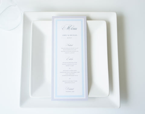 Blue and Gray Menu Cards - DEPOSIT