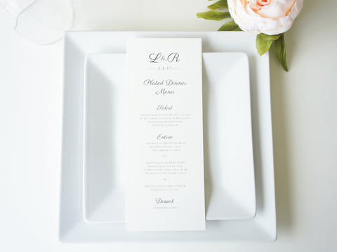 Traditional Wedding Menu Cards - DEPOSIT
