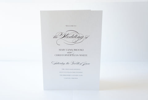 Formal Wedding Program - DEPOSIT