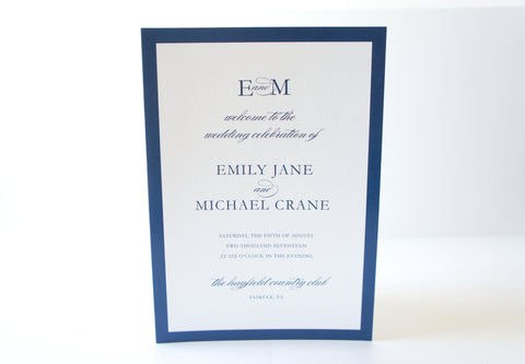 Navy Modern Wedding Program - DEPOSIT