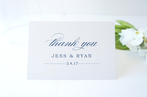 Navy Script Wedding Thank You Cards -  DEPOSIT