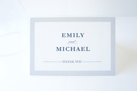Navy and Gray Thank You Cards -  DEPOSIT