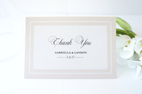 Beige Wedding Thank You Cards -  DEPOSIT