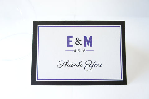 Purple Wedding Thank You Cards -  DEPOSIT