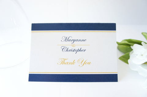 Navy and Gold Thank You Cards -  DEPOSIT