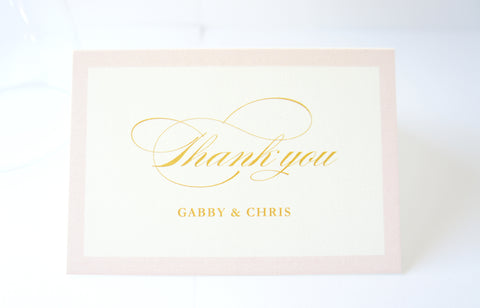 Blush and Gold Wedding Thank You Cards -  DEPOSIT