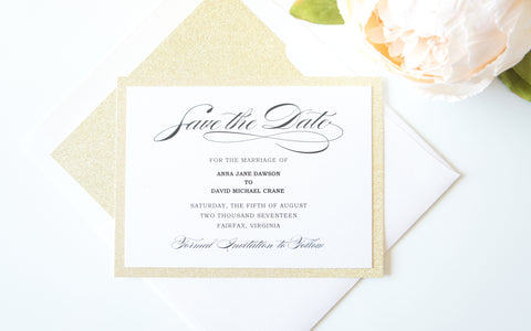 Gold Glitter Calligraphy Save the Date