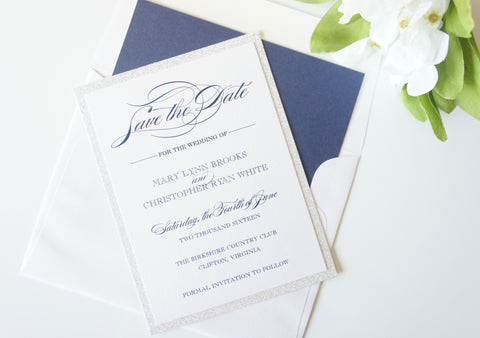 Navy Blue Silver Glitter Save the Date