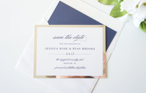 Silver and Navy Mirrored Save the Date