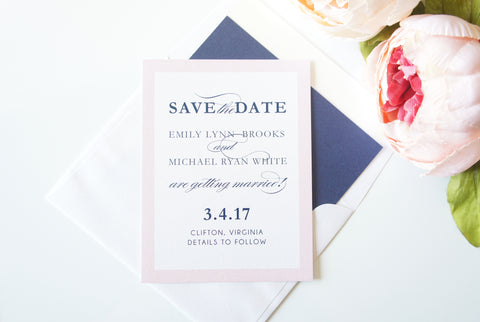 Pink and Navy Save the Date