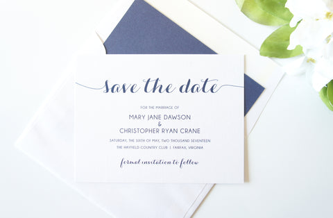Navy Calligraphy Save the Date