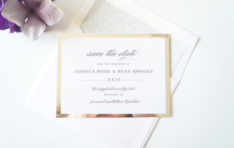 Silver and Purple Mirrored Save the Date