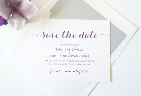 Purple Calligraphy Save the Date