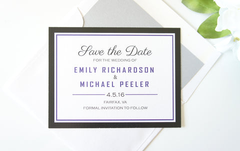 Purple and Black Save the Date