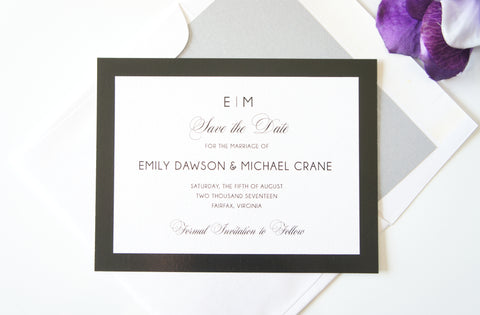 Black and White Monogram Save the Date