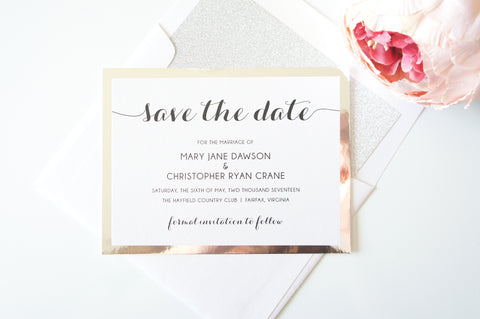 Modern Calligraphy Silver Save the Date