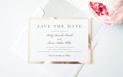 Silver Mirrored Save the Date