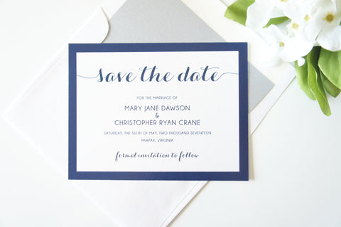 Navy Blue Script Save the Date