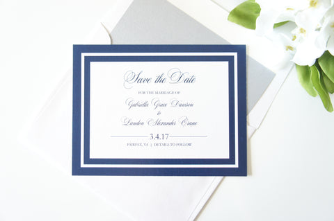 Elegant Navy Border Save the Date