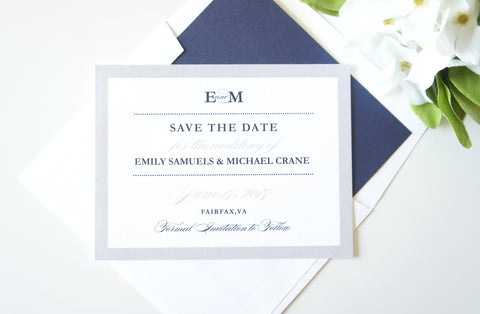 Blue and Gray Save the Date