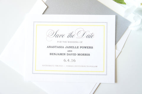 Yellow and Silver Save the Date