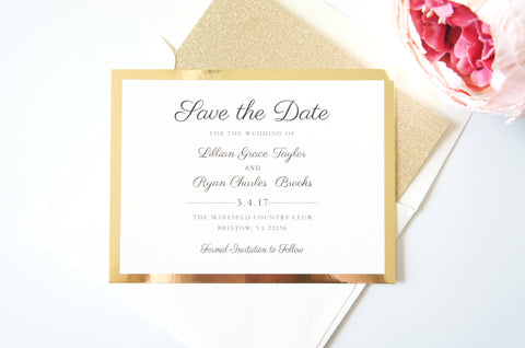 Elegant Gold and Ivory Save the Date