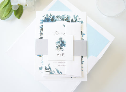 Baby Blue and Navy Floral Wedding Invitation - SAMPLE SET