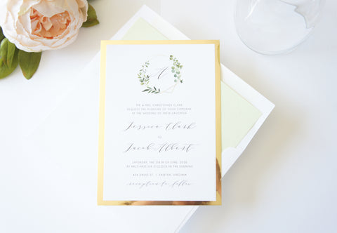 Monogram Wreath Wedding Invitation - DEPOSIT