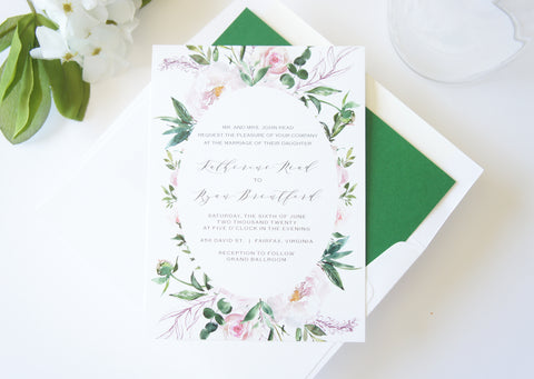 Blush Pink and Green Romantic Floral Wedding Invitation - DEPOSIT