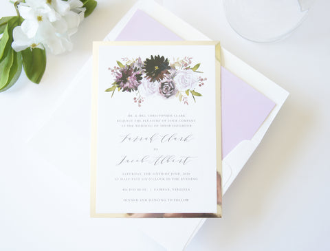 Purple Floral Wedding Invitation - DEPOSIT