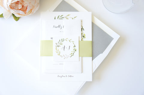 Greenery Monogram Wreath Wedding Invitation - SAMPLE SET