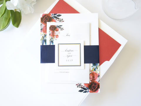 Red and Navy Romantic Floral Wedding Invitation - DEPOSIT