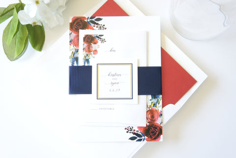 Red and Navy Floral Wedding Invitation - SAMPLE SET