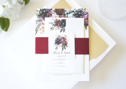 Marsala and Gold Floral Wedding Invitation - SAMPLE SET
