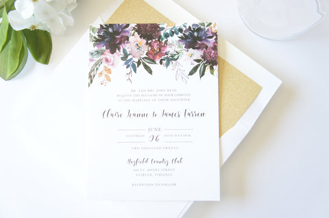 Burgundy and Gold Romantic Floral Wedding Invitation - DEPOSIT